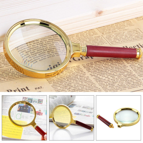 Classic 90mm Golden Handheld 10X Magnifier Magnifying Glass Loupe Reading Aid
