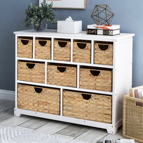 Large Storage Chest of Drawers with Baskets Solid Paulownia Sideboard for Hallway Bathroom (10 drawers)
