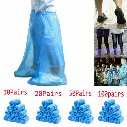 (50 pcs (60CM)) 100 Pcs Disposable Plastic Shoe Cover Waterproof Outdoor Home Long Shoe Cover -Blue