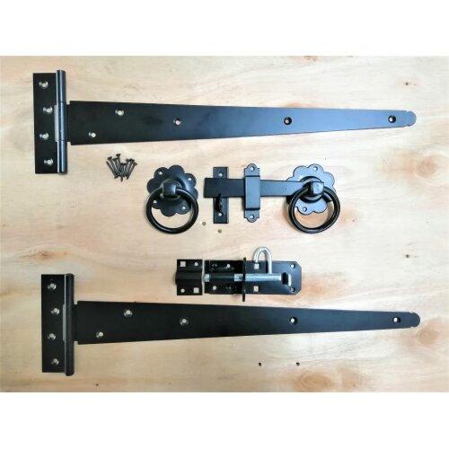 "Tee Hinge 18"" 450mm RING LATCH Wooden Gate Fitting Kit Garden Gate Set Black"