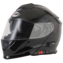 VCAN V271 Gloss Black Bluetooth Flip Front Helmet