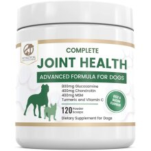 Petastical Dog Hip Joint Care Supplements, 800mg Glucosamine, 400mg Chondroitin, 400mg MSM with Added Turmeric, 120 Powder Scoops, Made In U