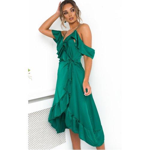 IKRUSH Womens Clara Frill Satin Wrap Dress