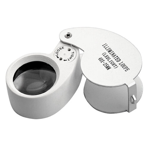 TRIXES Jewellers Lens 40 X 25mm Loupe Eye Magnifier LED Light