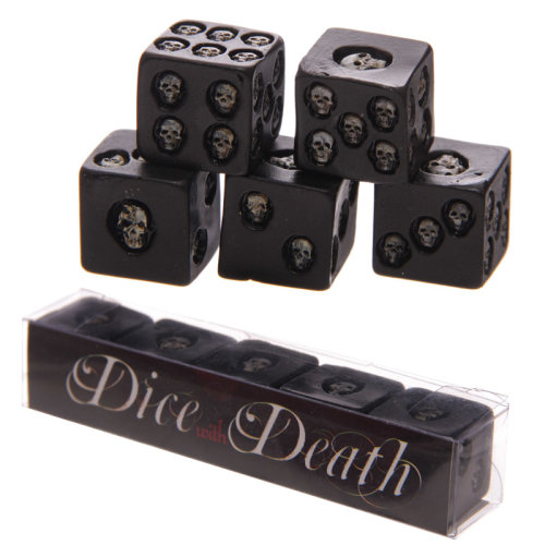 Set of 5 Black Skull Dice