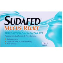 Sudafed Mucus Relief Triple Action 16 Tablets