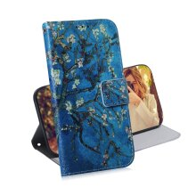 Phone Case For Motorola Moto G9 Play magnetic wallet PU leather flip cover with Blue flower pattern