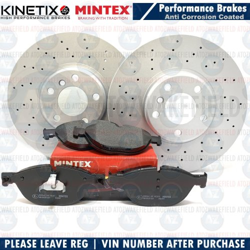 FOR BMW 535d M SPORT F07 F10 F11 FRONT DRILLED BRAKE DISCS MINTEX PADS SET 348mm