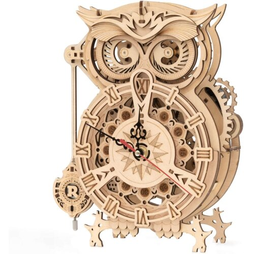 ROKR Owl Clock 3D Wooden Model Kits For Adults Wooden Puzzle for Adult
