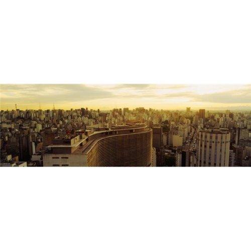 High Angle View of A City Copan Building Hotel Hilton Rua Consolacao Sao Paulo Brazil Poster Print, 36 x 12
