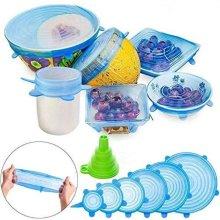 6 pcs Set Stretch Silicone Food Bowl Cover Storage Wraps Seals Reusable Lids