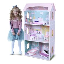Wooden Doll House Set Dollhouse With Play Furniture Accessories