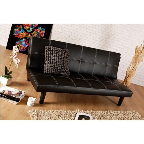(Brown) Comfy Living Brisbane Faux Leather Sofa Bed