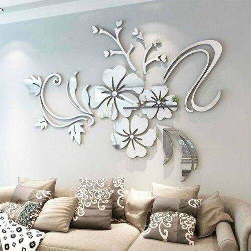 3D Mirror Flower Removable Wall Sticker Art Mural Decal Home Decor