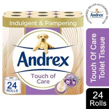 Andrex Toilet Roll with Shea Butter 2 Ply Toilet Paper, 24 Rolls