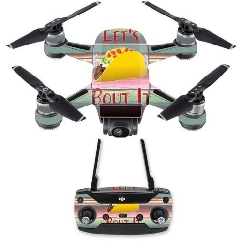 MightySkins DJSPCMB-Lets Taco Bout It Skin Decal for DJI Spark Mini Drone Combo - Lets Taco Bout It