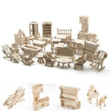 34pc Wooden Doll's House Furniture & Accessories Set