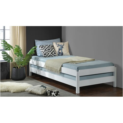 (Without Mattress (Frame Only)) White Wooden Stacking Bed. 3in1 Guest Bed