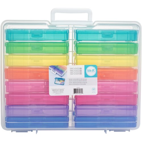 "We R Craft & Photo Translucent Plastic Storage 15""X12""X5""-Includes 16 Mini Cases"