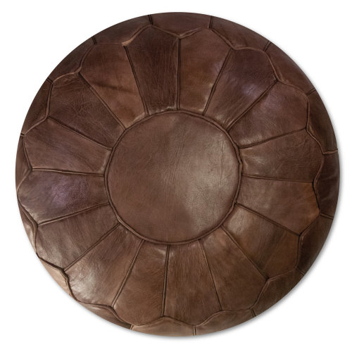 Premium XL Leather Pouffe  - Chocolate - Handmade - Delivered stuffed