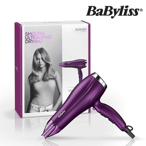BaByliss 5513U Velvet Orchid Tourmaline-Ceramic Ionic Hair Dryer Powerful 2300W