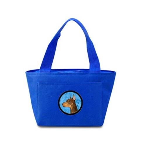 Blue Doberman Zippered Insulated School Washable And Stylish Lunch Bag Cooler