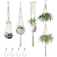 Ezylivin 4-Pack Macrame Plant Hangers Set Hand-Made Hanging Holder