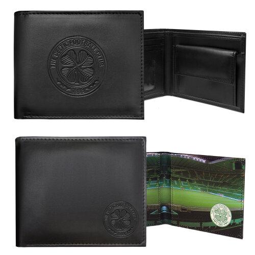 Celtic FC Official Football Gift Embossed Crest Wallet Black