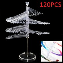 120PCS False Nail Art Polish Clear Spiral Fan Shape Display Stand