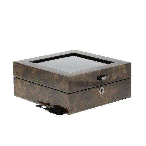 PREMIUM QUALITY DARK BURL WATCH BOX FOR 6 WATCHES BY AEVITAS