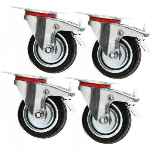 4x Heavy Duty 75mm Rubber Swivel Castor Wheels Furniture Trolley Caster 200KG