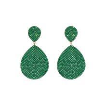 Latelita 925 Sterling Silver Stud Drop Earring Big Gold Emerald Green Statement