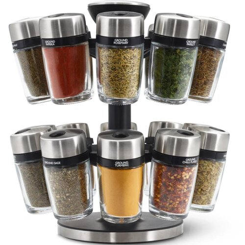 Cole & Mason Premium 20 Jar Filled Herb and Spice Carousel, Stainless Steel and Glass, 25 cm