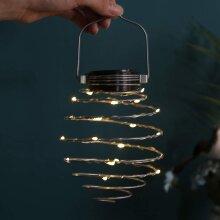 Solar Spiral Lights, Creative Iron Art Lanterns, LED Hanging Decorative Lamp for Outdoor, Garden, Patio, Porch, Path, Yard,String Lights Decoration