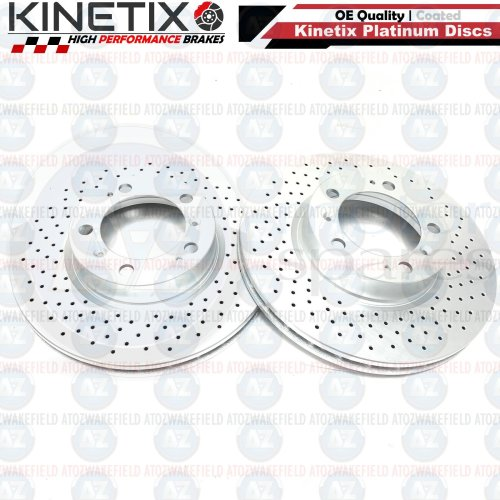 FOR PORSCHE 911 3.8 CARRERA FRONT CROSS DRILLED BRAKE DISCS PAIR 318mm COATED