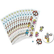 72 Superhero Super Hero Colorful Sticker Sheets for Kids Birthday Party Favors or Classroom Prizes and Rewards plus a Superhero Pin Back Button by AMA