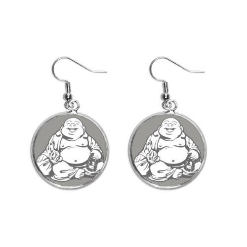 Buddhism Maitreya Line Drawing Pattern Ear Dangle Silver Drop Earring Jewelry Woman