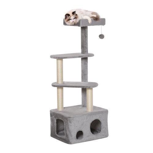 PawHut Cat Tree Kitten Tower w/ Scratching Post Condo Perches Hanging Ball