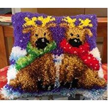 "Latch Hook Cushion Cover Kit ""Twin Reindeer"" 43x43cm"