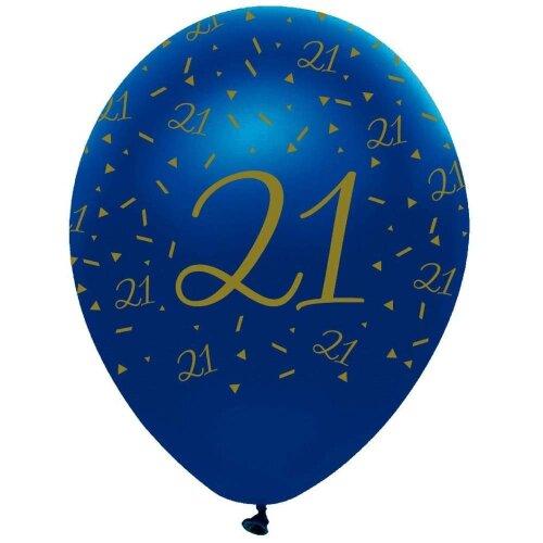 6 Navy Blue & Gold Geo Latex Balloons - 21st Birthday