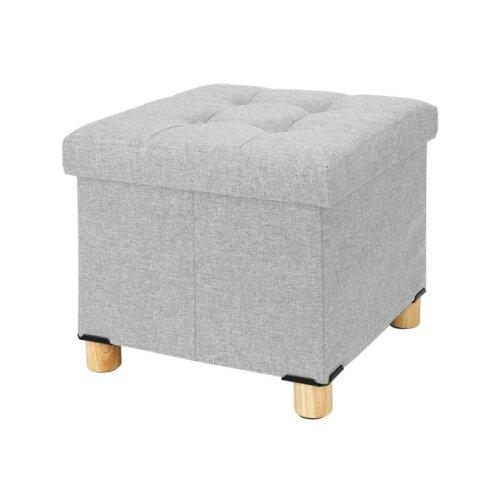 (Light gray) Stool Cube Footstool Bench Chair Storage Stool