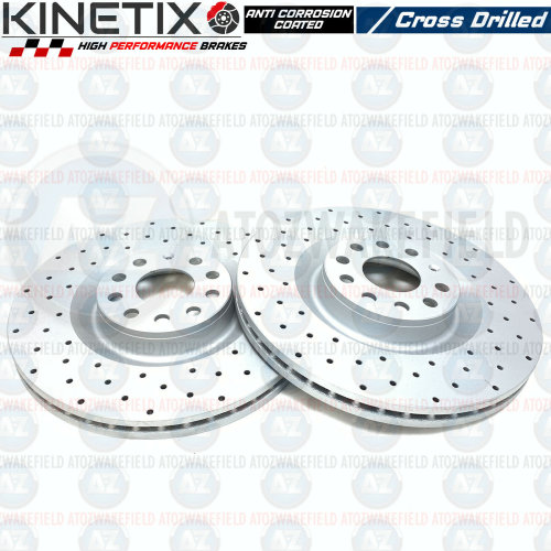 FOR AUDI S3 FRONT KINETIX PERFORMANCE DRILLED VENTED BRAKE DISCS PAIR 345mm