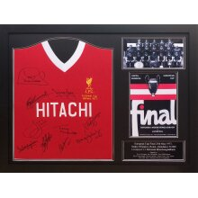 Framed Liverpool 77 European Cup shirt signed x 10 with COA & proof