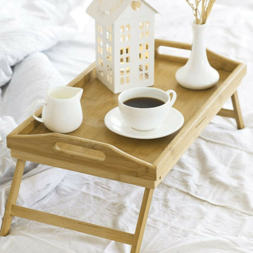 Bamboo Wooden Bed Tray With Folding Leg Serving Breakfast Lap Tray Table Mate UK