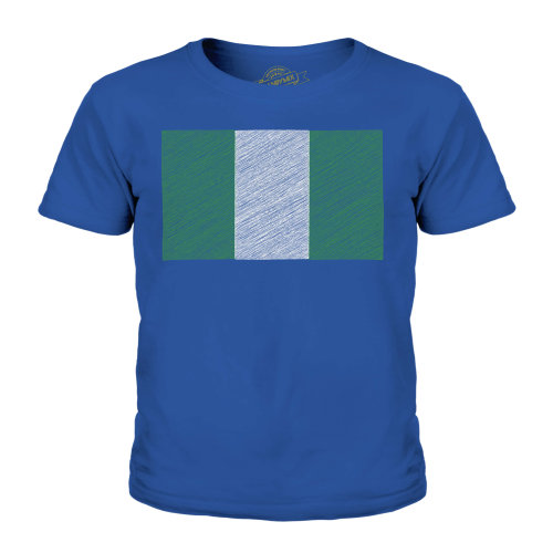 (Royal Blue, 9-10 Years) Candymix - Nigeria Scribble Flag - Unisex Kid's T-Shirt