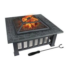 Dawoo Square 3-In-1 Fire Pit With BBQ Grill Shelf & Waterproof Cover