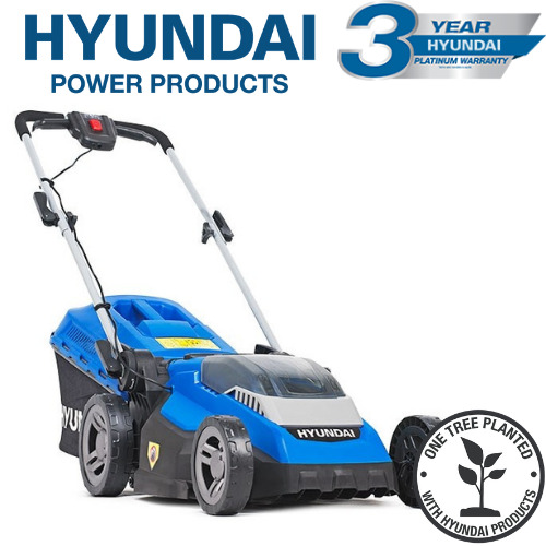 Hyundai HYM40LI380P 40V Lithium-Ion Cordless Battery Powered Roller Lawn Mower 38cm Cutting Width With Battery & Charger