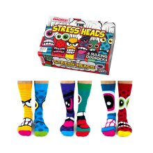 United Oddsocks Stress Heads Box of 6 Colourful Mens Oddsocks UK 6- 11