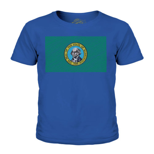 Candymix - Washington State Scribble Flag - Unisex Kid's T-Shirt