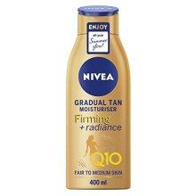 Nivea Q10 Firming + Radiance Gradual Tan (400 ml), Tan Activating Firming Cream with Q10, Supports a Gradual Tan, Tanning Moisturiser for a Sun-Kissed